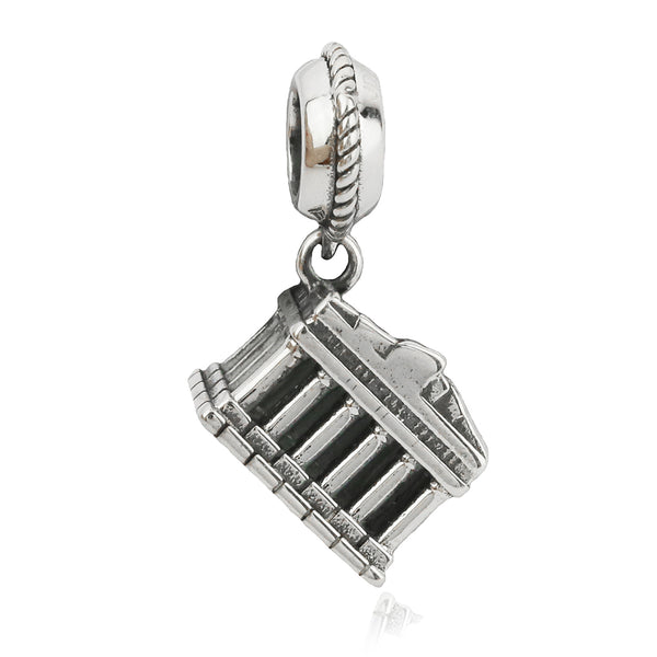 The Acropolis of Athens Vintage Hanging Charm in Sterling Silver