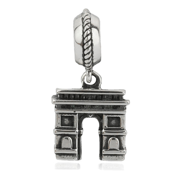 The Arc de Triomphe Paris Vintage Hanging Charm in Sterling Silver