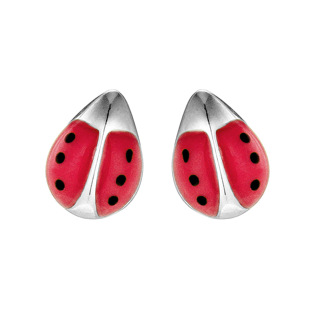 Cute Red Ladybug Stud Earrings in Sterling Silver