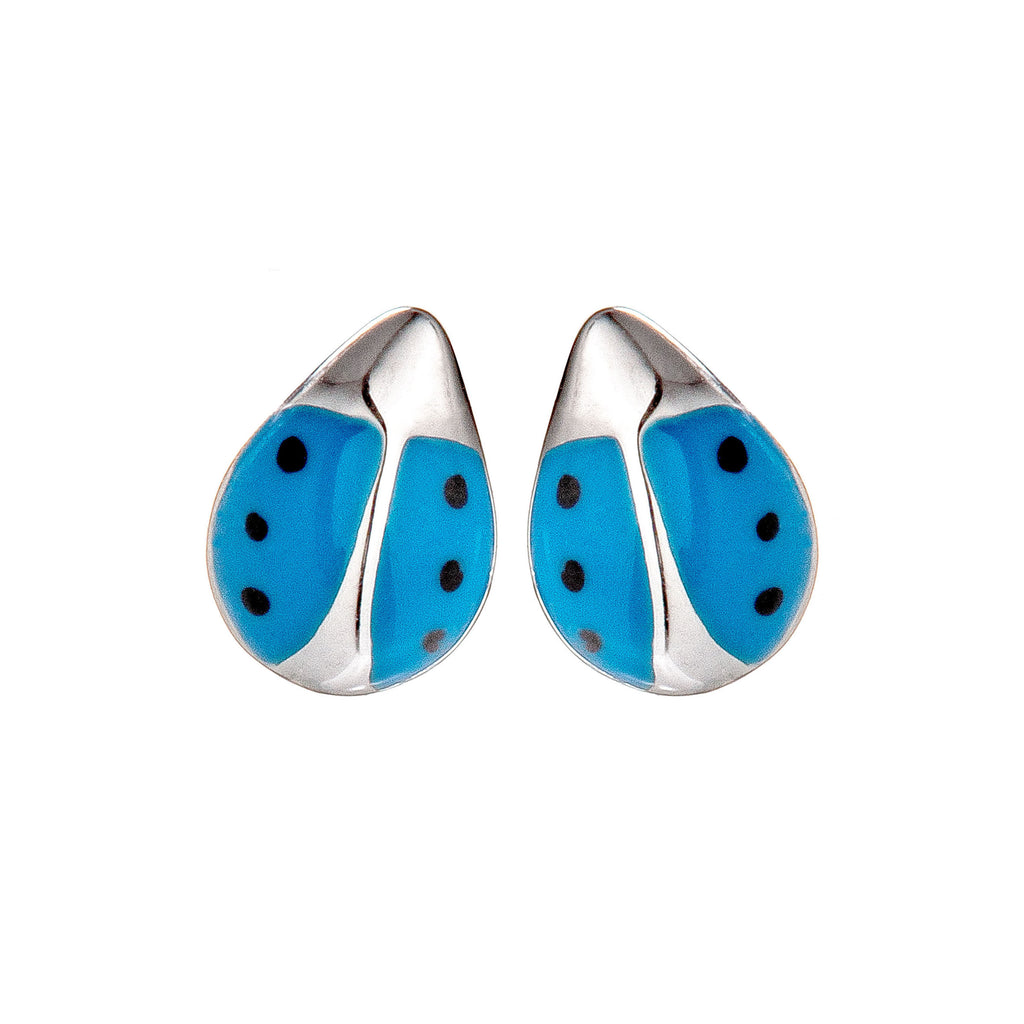 Cute Blue Ladybug Stud Earrings in Sterling Silver