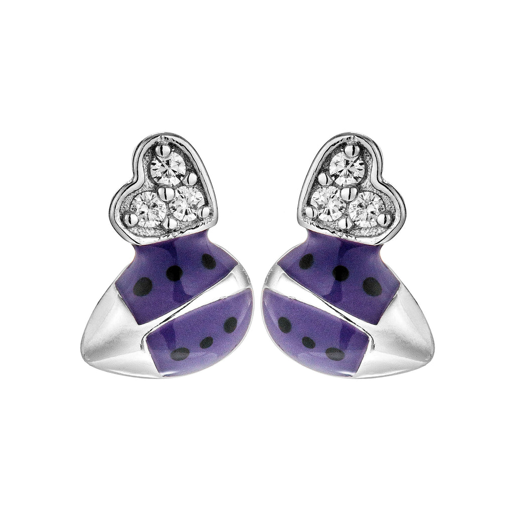 Purple Ladybug with Heart Stud Earrings in Sterling Silver
