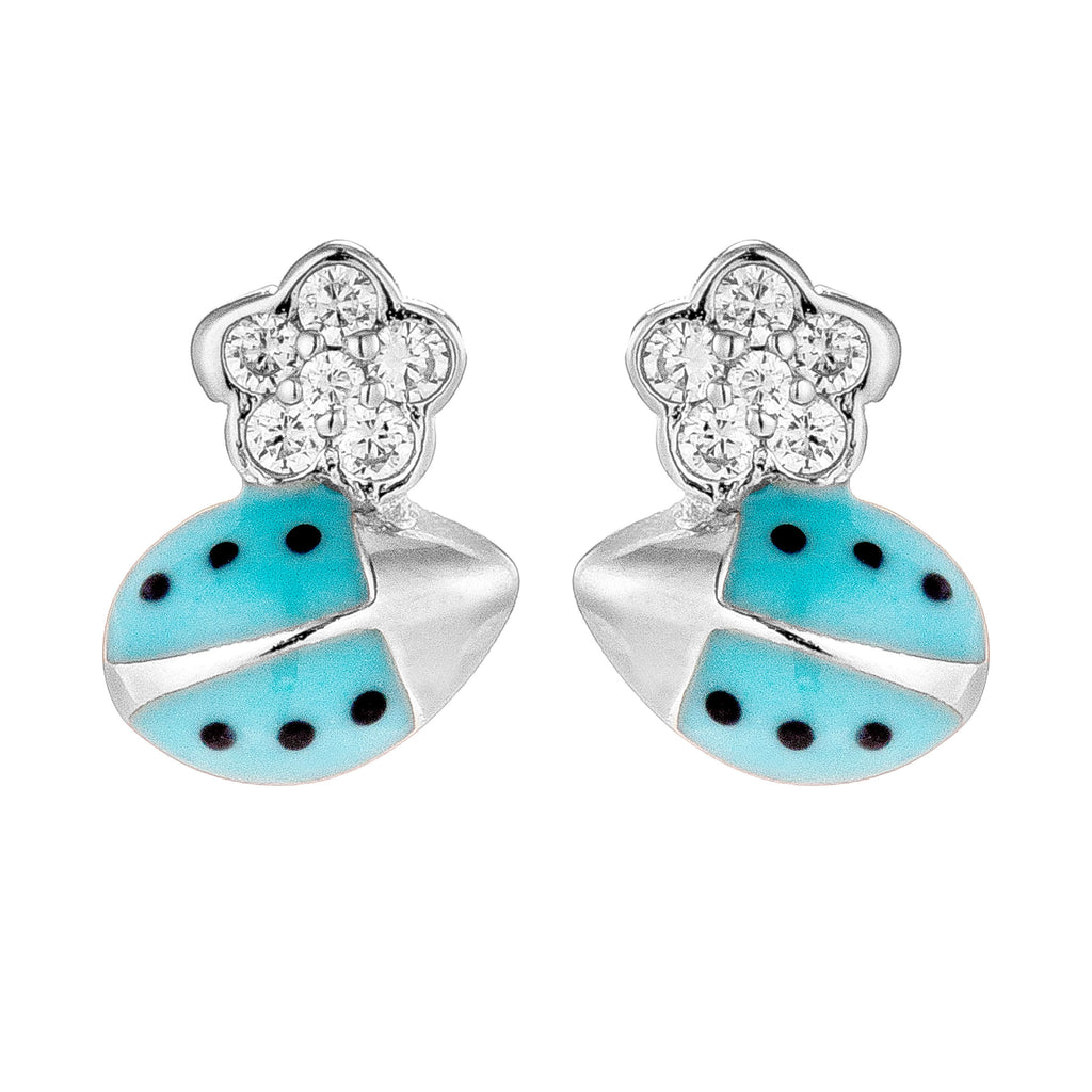 Baby Blue Ladybug with Flower Stud Earrings in Sterling Silver