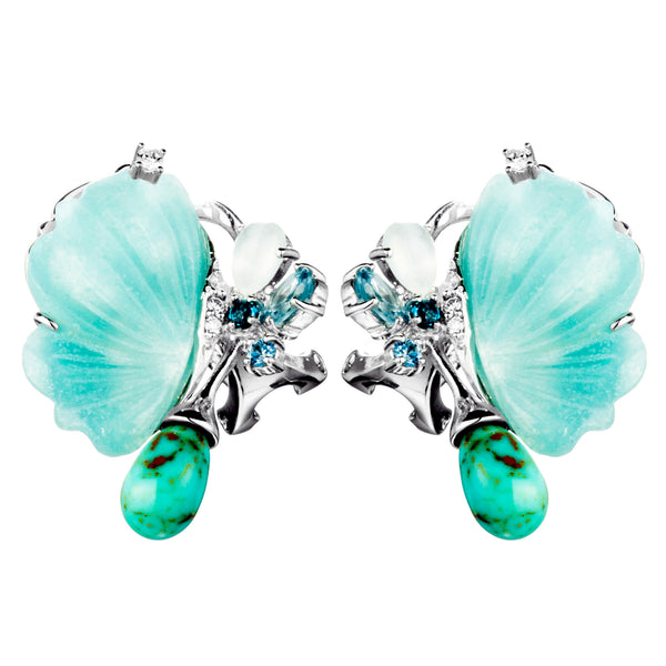 Half Open Butterfly French Back Earrings with Blue Quartz & Blue Moon Stone