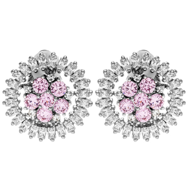 Sunflower Sparkling Baby Pink Crystal Clip on Earrings in Sterling Silver