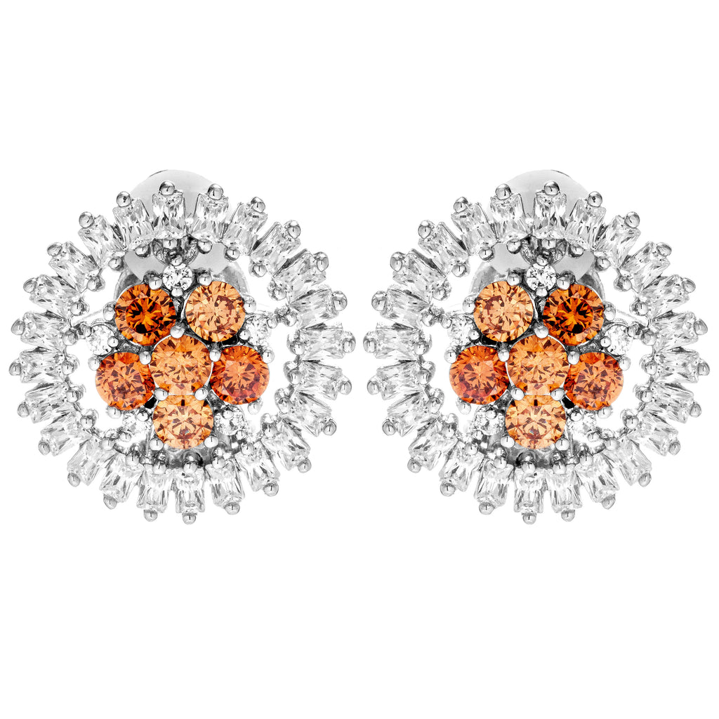 Sunflower Sparkling Orange Crystal Clip on Earrings in Sterling Silver