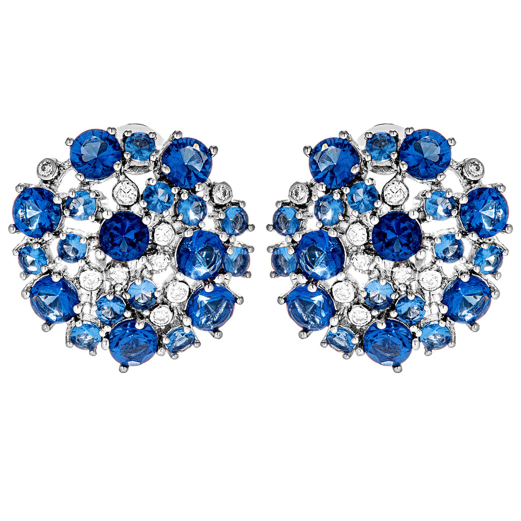 The Beauty of Ocean Blue Cluster Clip on Earrings in Sterling Silver