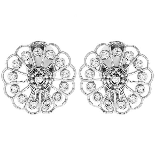 Dandelion Unique Flower Look Clip on Earrings with Clear Crystals in Sterling Silver