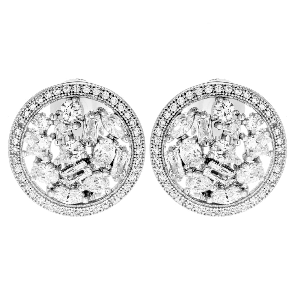 Round Cluster Angelic Crystal Clip on Earrings in Sterling Silver