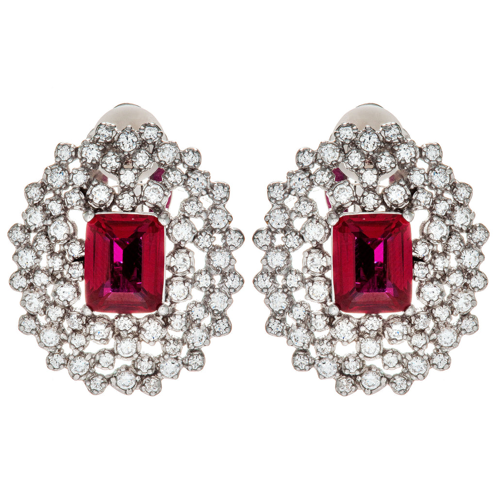 Gorgeous Classic Plum Red Crystal Clip on Earrings in Sterling Silver