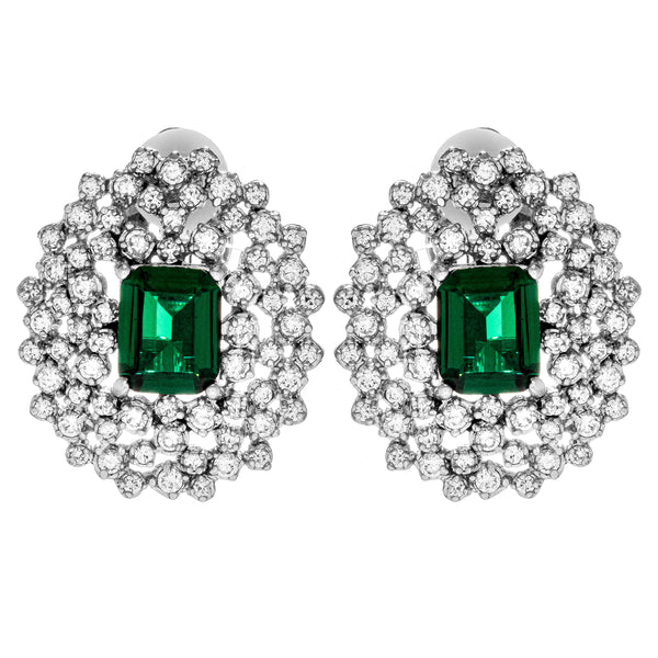 Gorgeous Classic Emerald Crystal Clip on Earrings in Sterling Silver