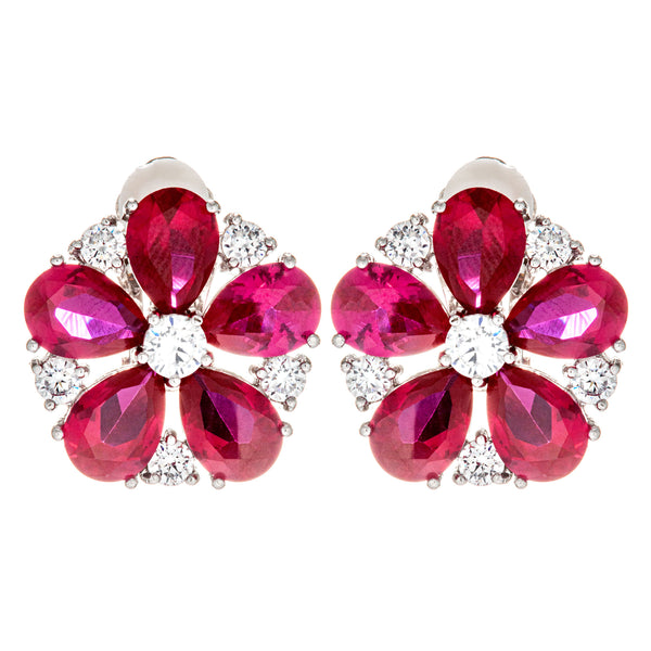 Plum Red Blossom Flower Crystal Clip on Earrings in Sterling Silver