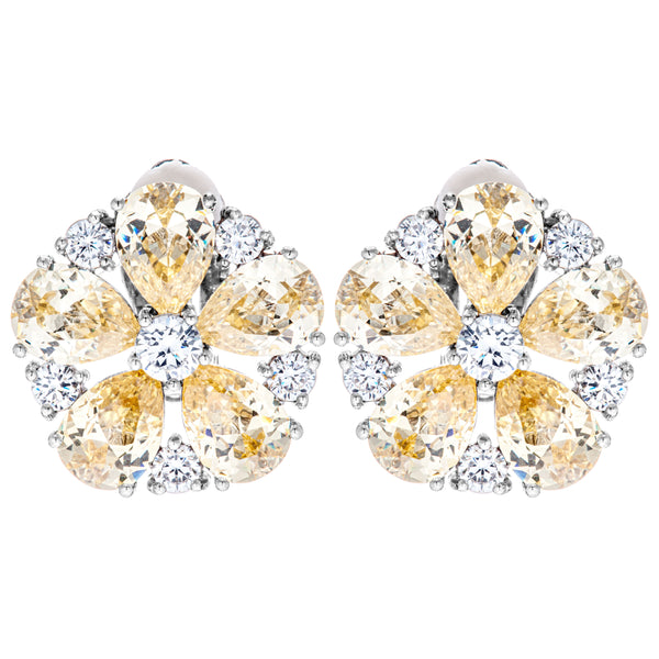Baby Yellow Blossom Flower Crystal Clip on Earrings in Sterling Silver