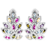 Rare Virtual Tree Clip on Earrings with Multicolored Crystal in Sterling Silver