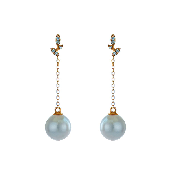 18K Gold Petite Delicate Vine Drop Earrings with Akoya Sea Water Pearl & Diamond