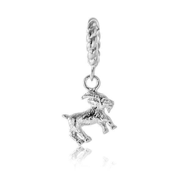 Shining Chinese Zodiac Goat Hanging Charm in Sterling Silver