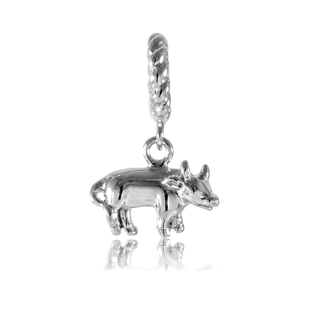 Chinese Zodiac OX Hanging Charm in Sterling Silver