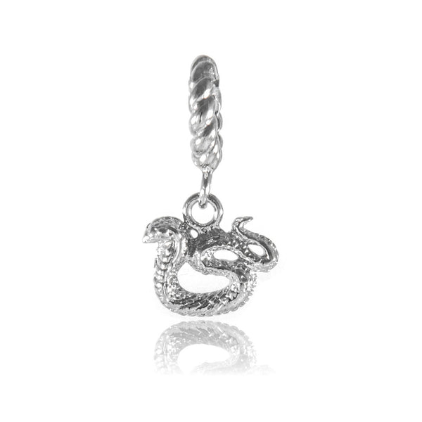 Shining Chinese Zodiac Snake Hanging Charm in Sterling Silver