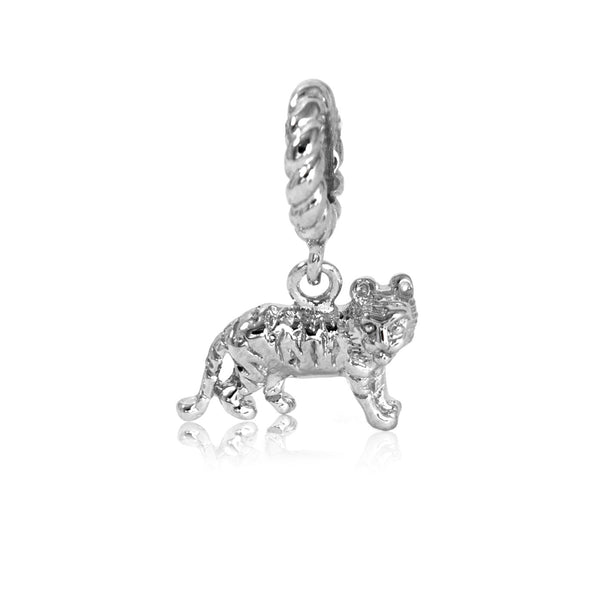 Bright Chinese Zodiac Tiger Hanging Charm in Sterling Silver