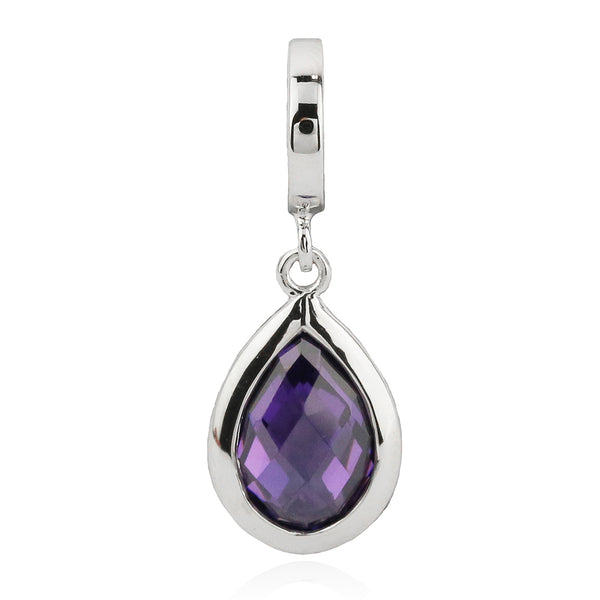 Dazzling Purple Tear Drop Hanging Charm in Sterling Silver