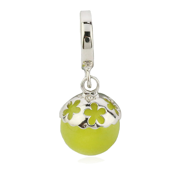 Cute Little Yellow Pine Nut Hanging Charm in Sterling Silver