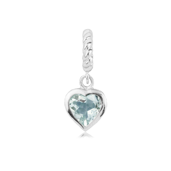 Spakling Light Sky Blue Love Heart Hanging Charm in Sterling Silver