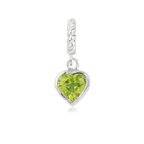 Spakling Green Love Heart Hanging Charm in Sterling Silver