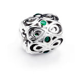 Green Hollow Floral Infinity Spacer Charm in Sterling Silver