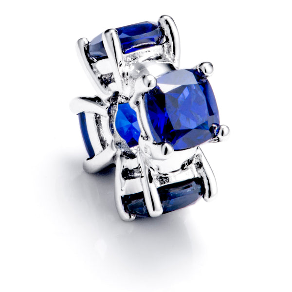 Rare Design Sapphire Blue Spacer Stopper Charm in Sterling Silver