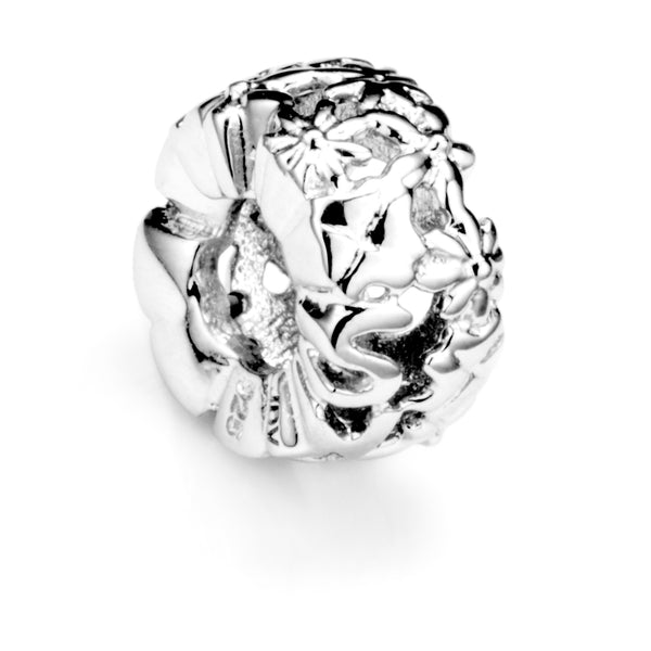 Hollow Flower Burst Spacer Charm in Sterling Silver