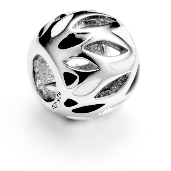 Decorative Hollow Forest Charm with Black & White Color in Sterling Silver