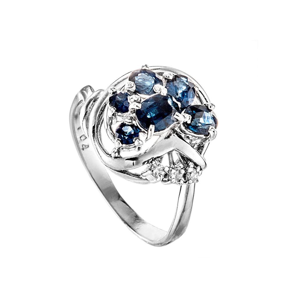 Platinum Natural Sapphire Diamond Ring