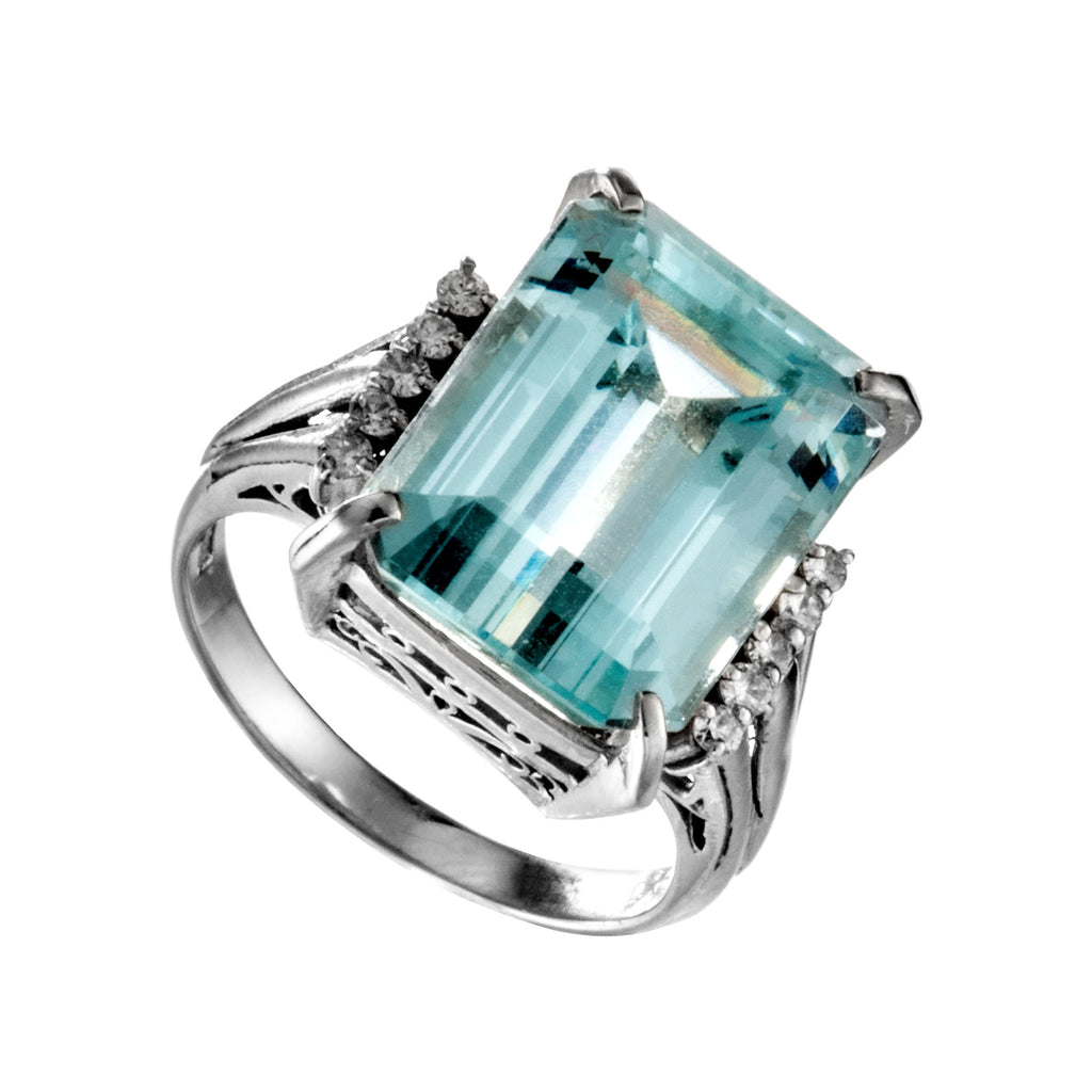 Platinum Aquamarine, Diamond Engagement Square Ring