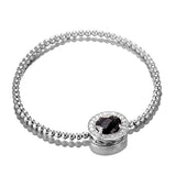 Oval Black Pendant Beads Bracelet in Sterling Silver