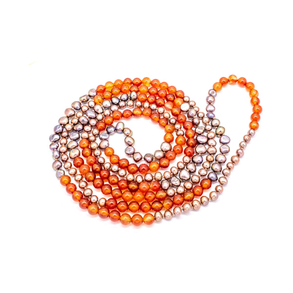 Carnelian & Pearl Long Necklace  Natural Stone