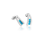 Unique Sail Style Stud Earrings with Aqua Blue Crystals in Sterling Silver