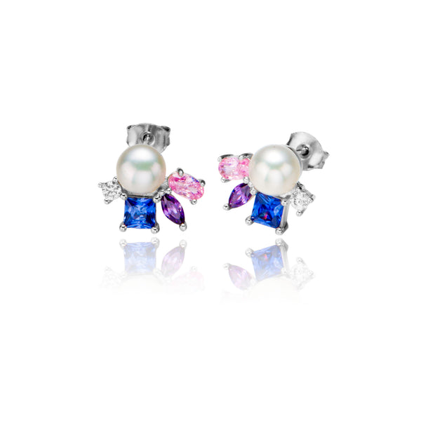 Abstract Multicoloured Stud Earrings with Mother of Pearl in Sterling Silver
