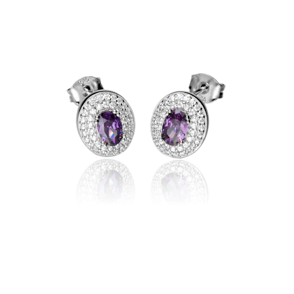 Oval Sterling Silver Stud Earrings with Amethyst Purple Crystal