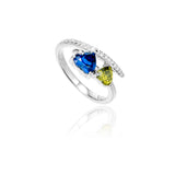 Double Heart Ring with Blue & Yellow Crystal in Sterling Silver