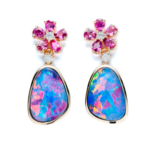 14K Gold Opal, Tourmaline Diamond Earrings