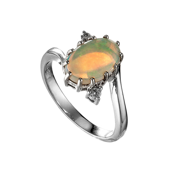 18K Platinum Opal, Diamond Engagement Ring