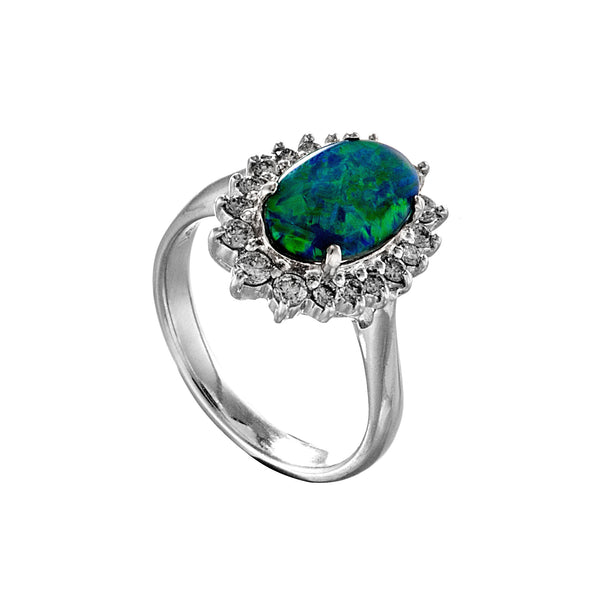 18K Platinum Black Opal, Diamond Engagement Ring