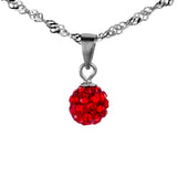 Party Ball Necklace with Red Crystal in Sterling Silver