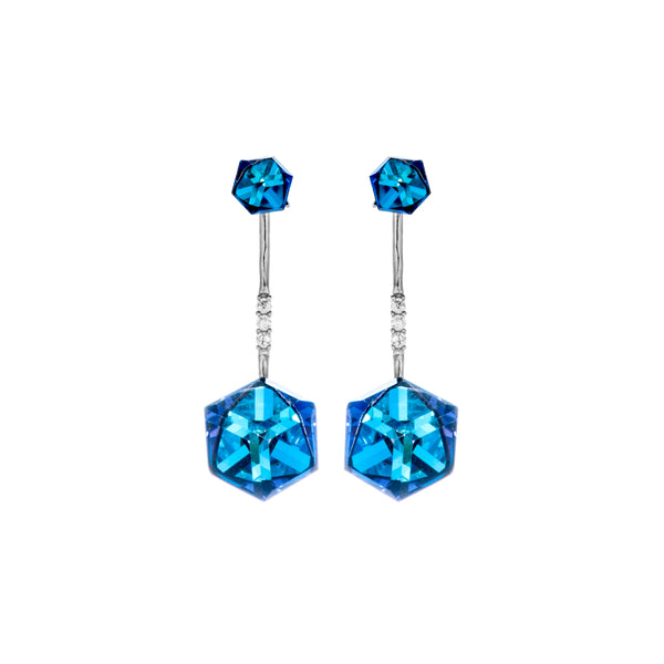 Exotic Double Dazzling Clear & Blue Crystal Gem Drop Earrings in Sterling Silver
