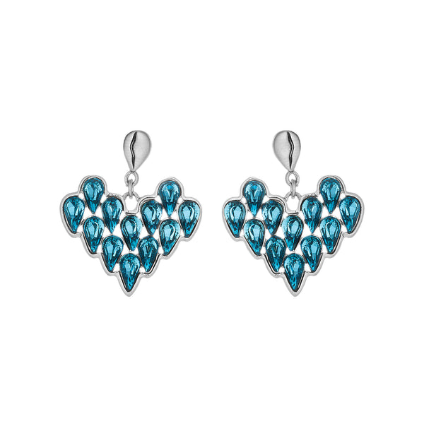 Thunder Heart Shaped Blue Drop Earrings in Sterling Silver
