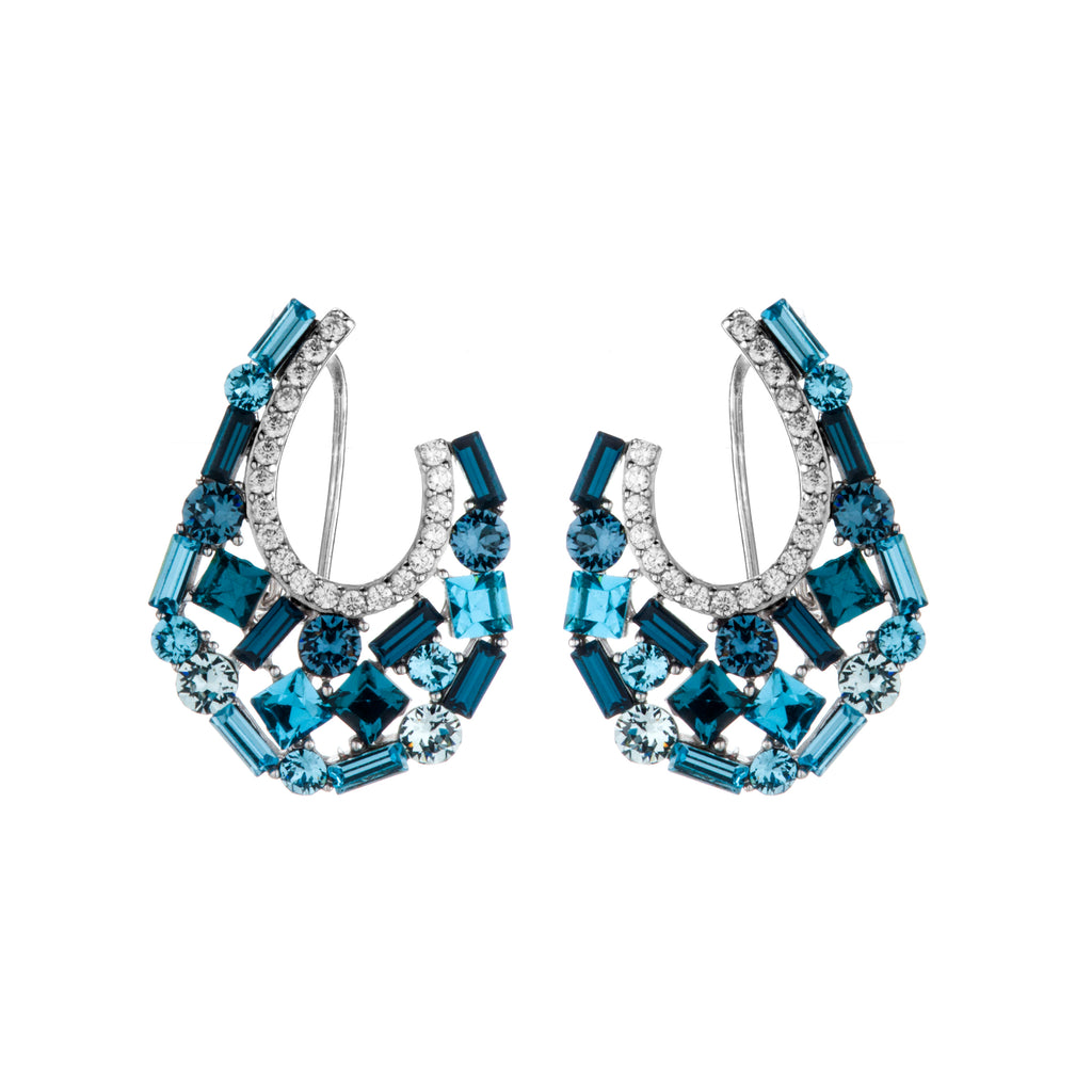 Blue Cluster Crystal U Shape Stud Earrings with Fresh Back in Sterling Silver