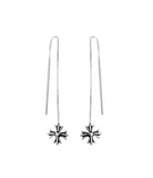 Chrome Hearts Cross Threader Drop Earrings in Sterling Silver