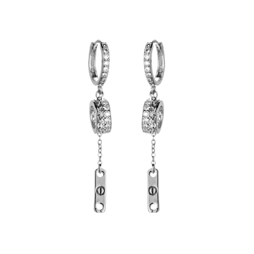 Hoop Circle Crystal Huggie Drop Earrings in Sterling Silver