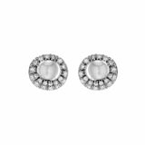 Ray of Light Oval Stud Earrings with Fresh Water Pearl in Sterling Silver
