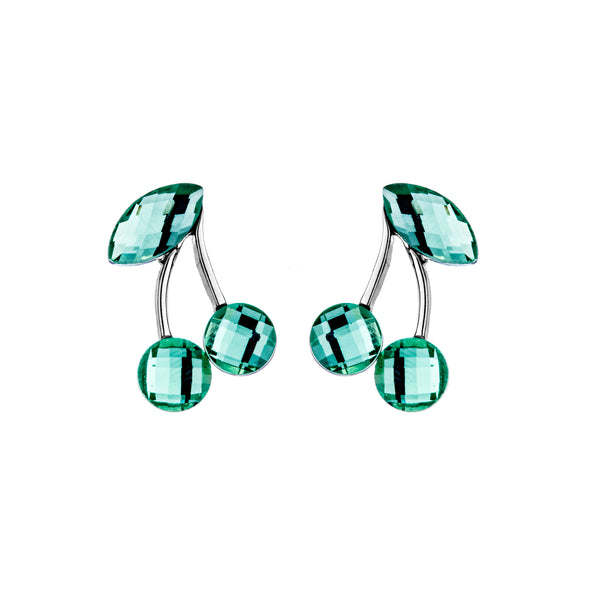 Cute Cherry Stud Earrings with Green Crystal in Sterling Silver