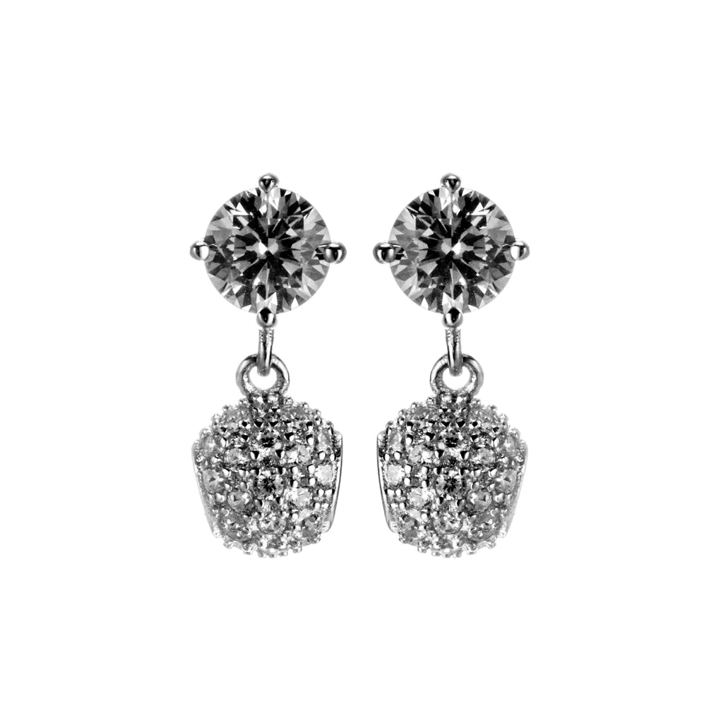 Signiture Cushion Cut Crystal Stud Earrings with Bead in Sterling Silver